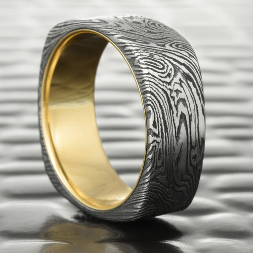 by ring wedding w hand rose mokume crafted gold and three shakudo debratapianmokumearts gane set rings