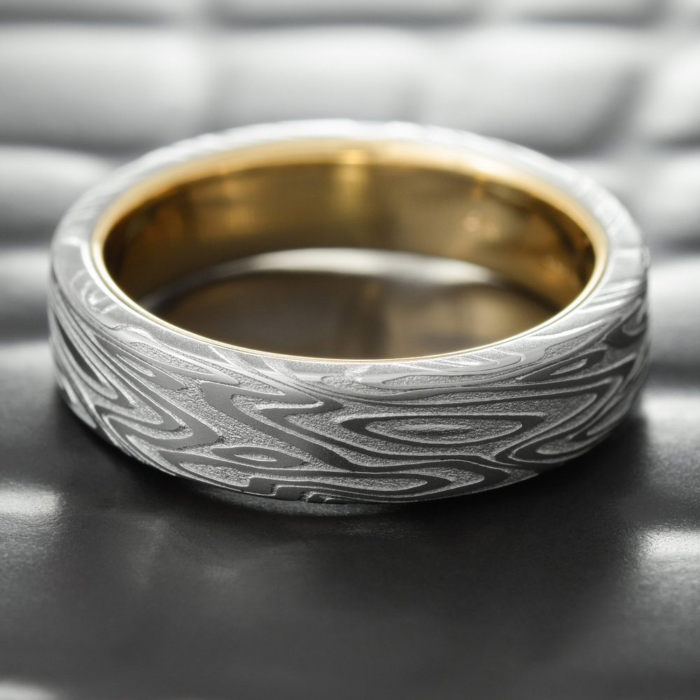 Damascus wedding bands for men with gold