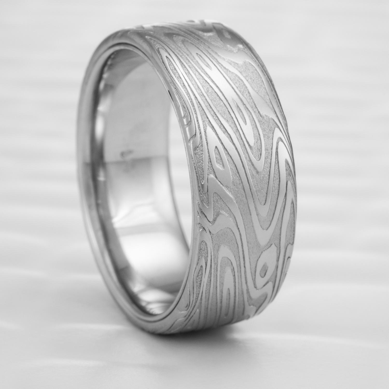 Damascus Steel Wedding Ring Flat with Palladium Liner | ORGANIC WOOD ...