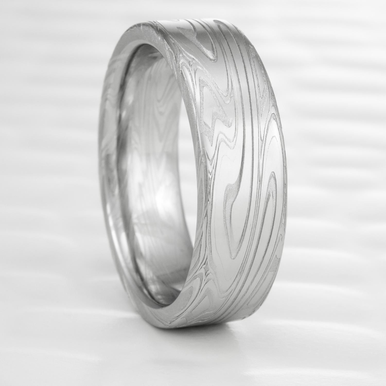 Stainless Damascus Steel Ring Flat Wedding Band for Women | SWIRLING ...