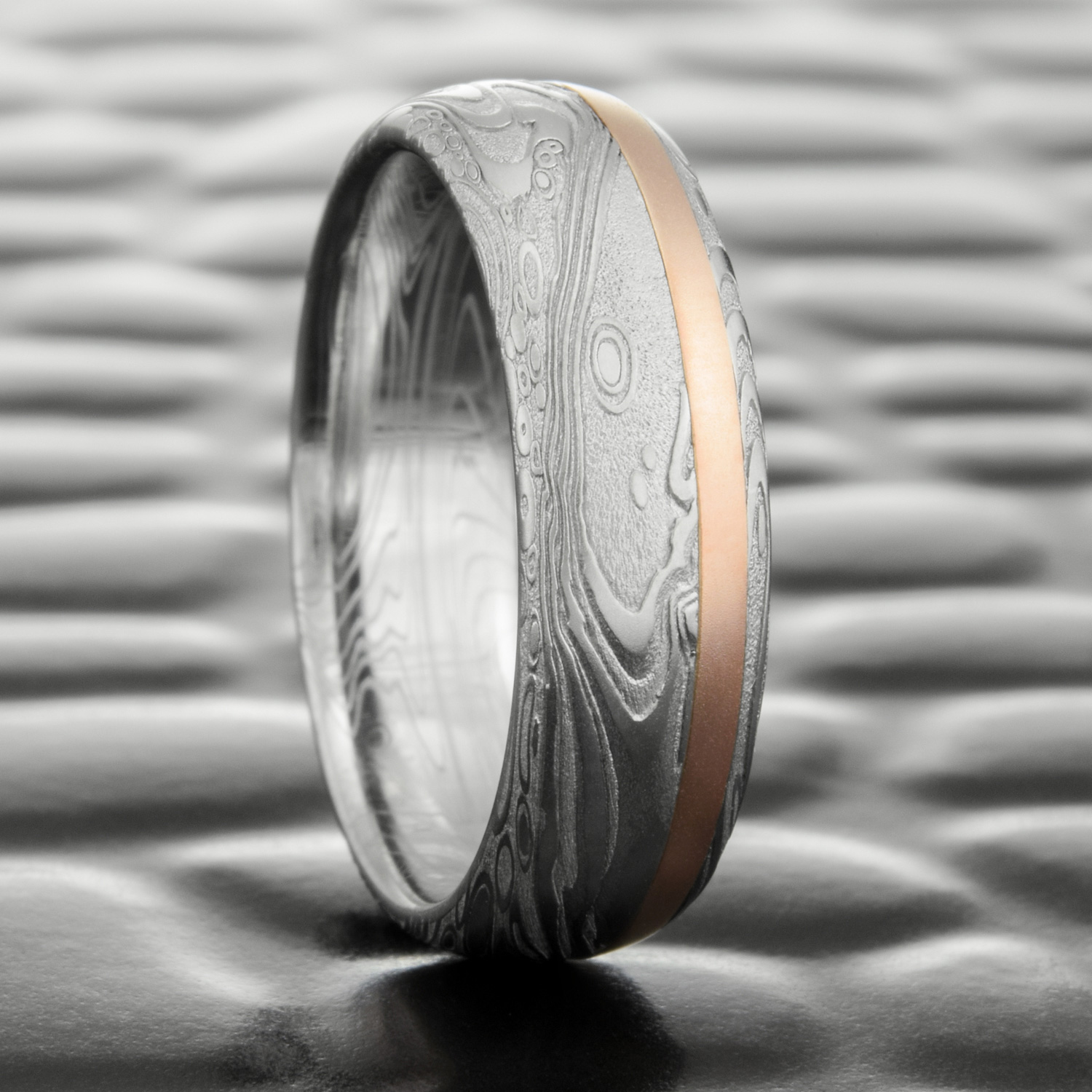 Damascus Steel Domed Wedding Ring with 14K Rose Gold Offset Inlay ...