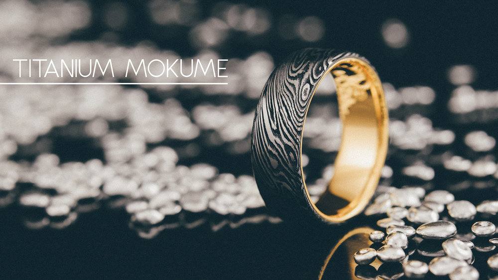 Titanium Mokume Wedding Bands