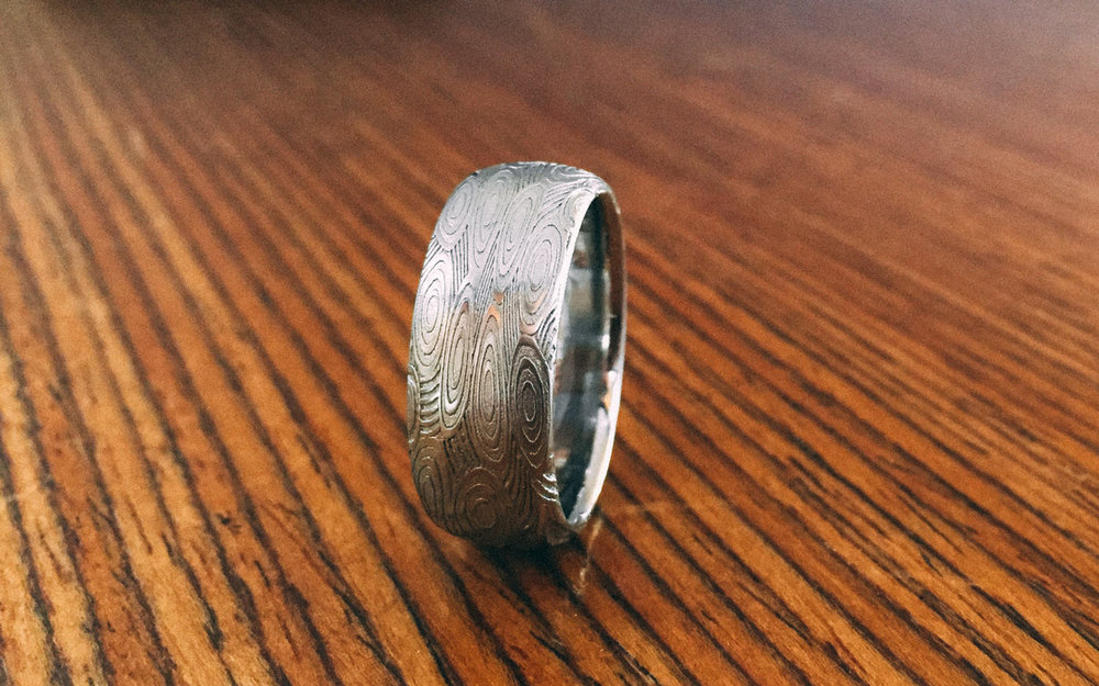 Geometric patterned Damascus Steel Ring –  CROP CIRCLES