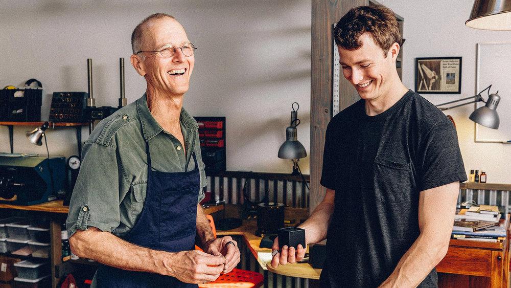 Steve and Jacob enjoying a laugh at the Boulder Studio.