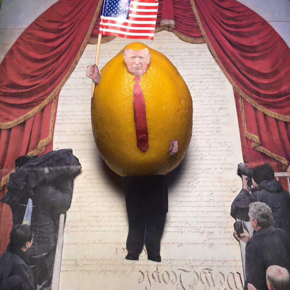 """1.24.17 Patriotism is the last refuge of a scoundrel... """"Mr. Lemon, you must divest!"""" """"I don't want to divest, I want to unite. Therefore, I do hereby proclaim Jan. 20, 2017, as National Day of Patriotic Devotion, in order to distract you."""" #Lemonlaw#Squeezethelemon#Zesty#DivestDonald"""