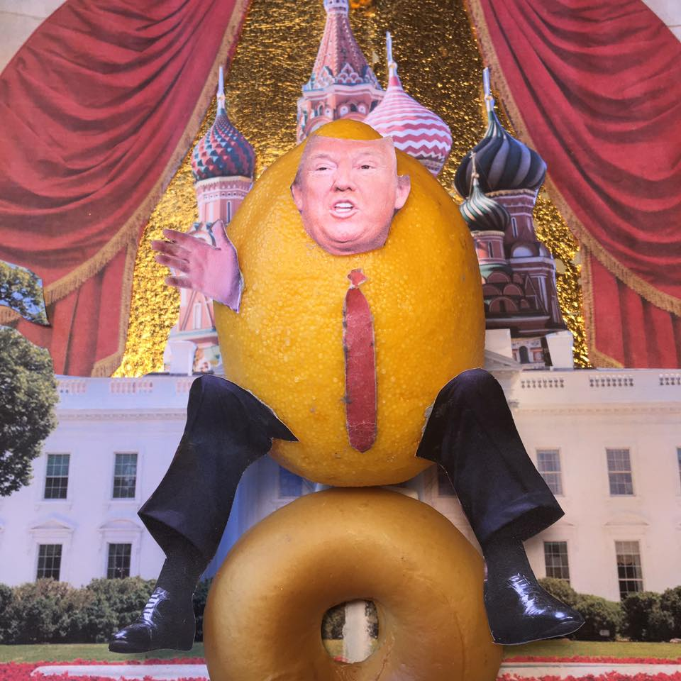 "2.16.17 Peace of Lemon... ""Mr. Lemon, What do you say to those among the Jewish community who believe your administration is playing with xenophobia and maybe racist tones?"" ""Well, I just want to say that we are very honored by the victory we had. 306 Electoral College votes. We were not supposed to crack 220. But we cracked. You know that, right? I will say that we are going to have peace in this country. We are going to stop crime in this country. We are going to do everything within our power to stop long-simmering racism and every other thing that's going on. We are going to throw every other thing into a pot. I'm going to stir things up. I'm going to bring the pipeline down from Canada and get fuel. I am going throw fuel on the fire. I'm going to let everything boil over to stop the simmering. My son-in-law is a Jew. I think that you're going to see a lot different United States of America over the next three, four, or eight years. We have a very, very divided nation. Very divided. And there's tremendous enthusiasm out there."" #Lemonlaw #Squeezethelemon #Zesty#DivestDonald"