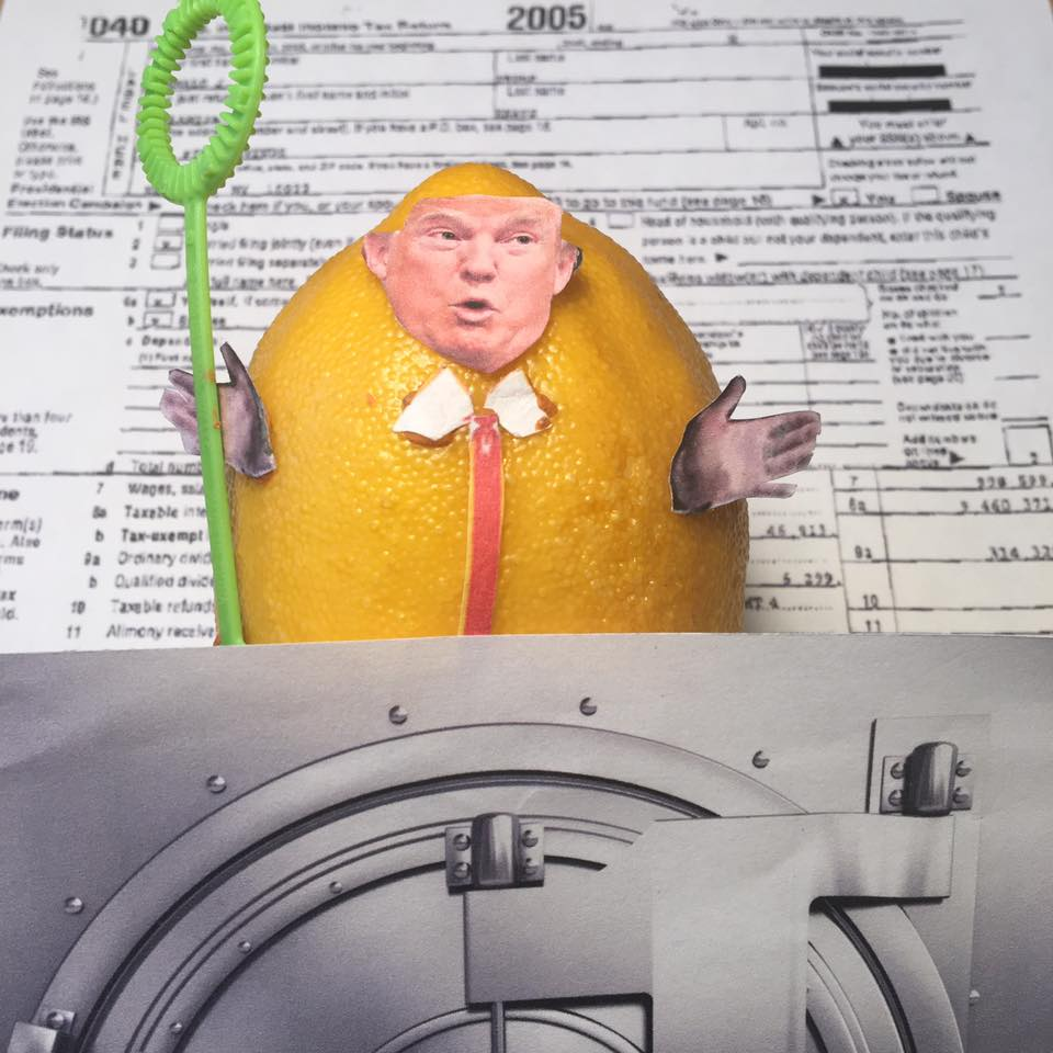 "3.15.17   The Lemon Returns... ""Does anybody really believe that a reporter and Pulitzer Prize winning author who wrote a book about me, who nobody ever heard of 'went to his mailbox' and found my tax returns that I sent him? FAKE NEWS! They don't show any of my conflicts of interest, business ties to Russians, and money laundering with the Bank of Cyprus. I only sent two pages! They only show that I had a funny $100 million in losses and I still I paid plenty because of the Alternative Minimum Tax which I will get rid of. My scandals have so many distractions and my distractions have so many scandals. FUN!"" #Lemonlaw #Squeezethelemon #Zesty#DivestDonald"