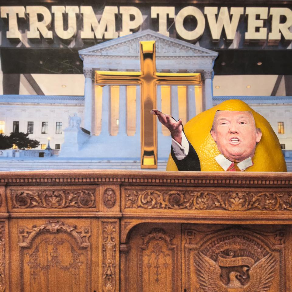 """4.6.17 Courting Votes.... """"And the trade is starting now, big league. The Dems say we stole the Supreme Court seat. We did not steal the Supreme Court seat. We traded the Supreme Court seat for the soul of the evangelical vote when they voted for me."""" #LemonLaw#SqueezeTheLemon#Zesty#DivestDonald"""