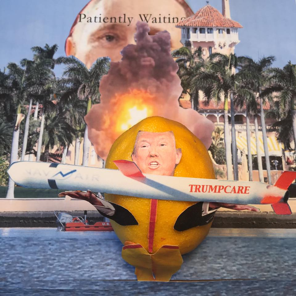 """4.8.17 The Presidency Is the Bomb… """"Watch my ratings soar now that we conveniently exploded a few buildings and planes in Syria. And not only did I appoint such a Supreme-right judge, but we also exploded the Senate. We even have an in-house Bannon/Kushner blow-up. Next, we explode Obamacare. It will be tremendous. My ratings will explode!"""" #LemonLaw#SqueezeTheLemon#Zesty#DivestDonald"""