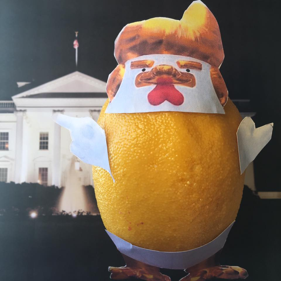 "4.9.17 By day, brash and incompetent, at night, the Lemon slips into his robe and becomes the Chicken Don–taking on corruption and fighting justice! No one ever sees his taxes–will the Chicken ever be unmasked... ""Well, we're working on that now. I have very big returns, as you know, and I have everything all approved and very beautiful and we'll be working that over in the next period of time–perhaps when I'm subpoenaed."" #TaxMarch"