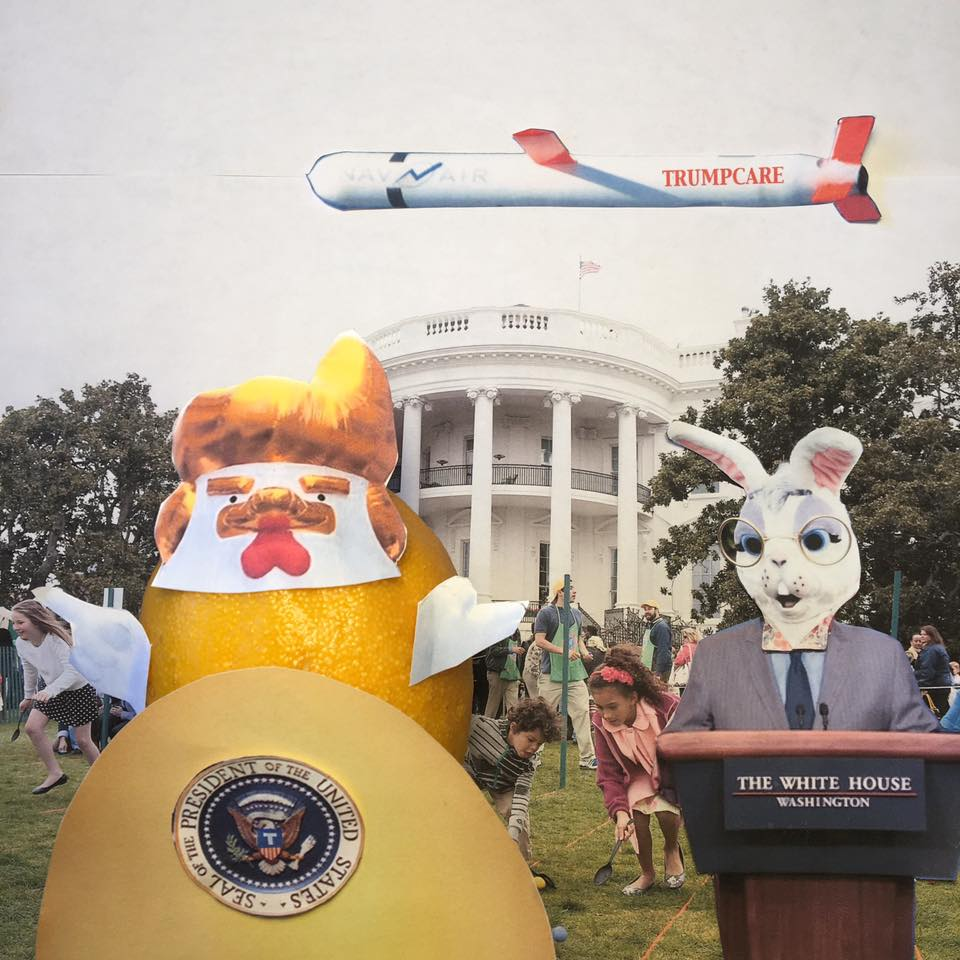 "4.13.17 Egg Roll Re-accommodation... ""The Easter Egg Roll is on target. We will have the best egg roll. We asked Sesame Street to send characters before we defund them. Senate Democrats refuse to confirm them. Do not worry. We have Big Bird. BIG BIRD! We have the best Big Bird. We have Chicken Don!"" #TaxMarch"