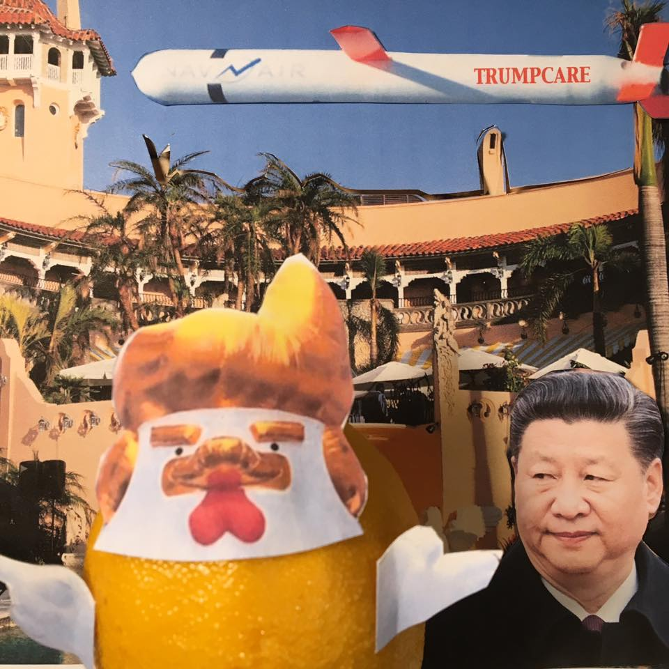 """4.12.17 The Lemon Verbatim in Full Chicken-Don Regalia Recalls Explaining His Attack on Syria to PRC President Xi, Over Dinner at His Private Country Club... """"I said, Mr. President, let me explain something to you — this was during dessert, we've just fired 59 missiles, all of which hit, by the way, unbelievable, from, you know, hundreds of miles away, all of which hit, amazing. Brilliant. It's so incredible. It's brilliant. It's genius...He was eating his cake and he was silent."""" #TaxMarch"""
