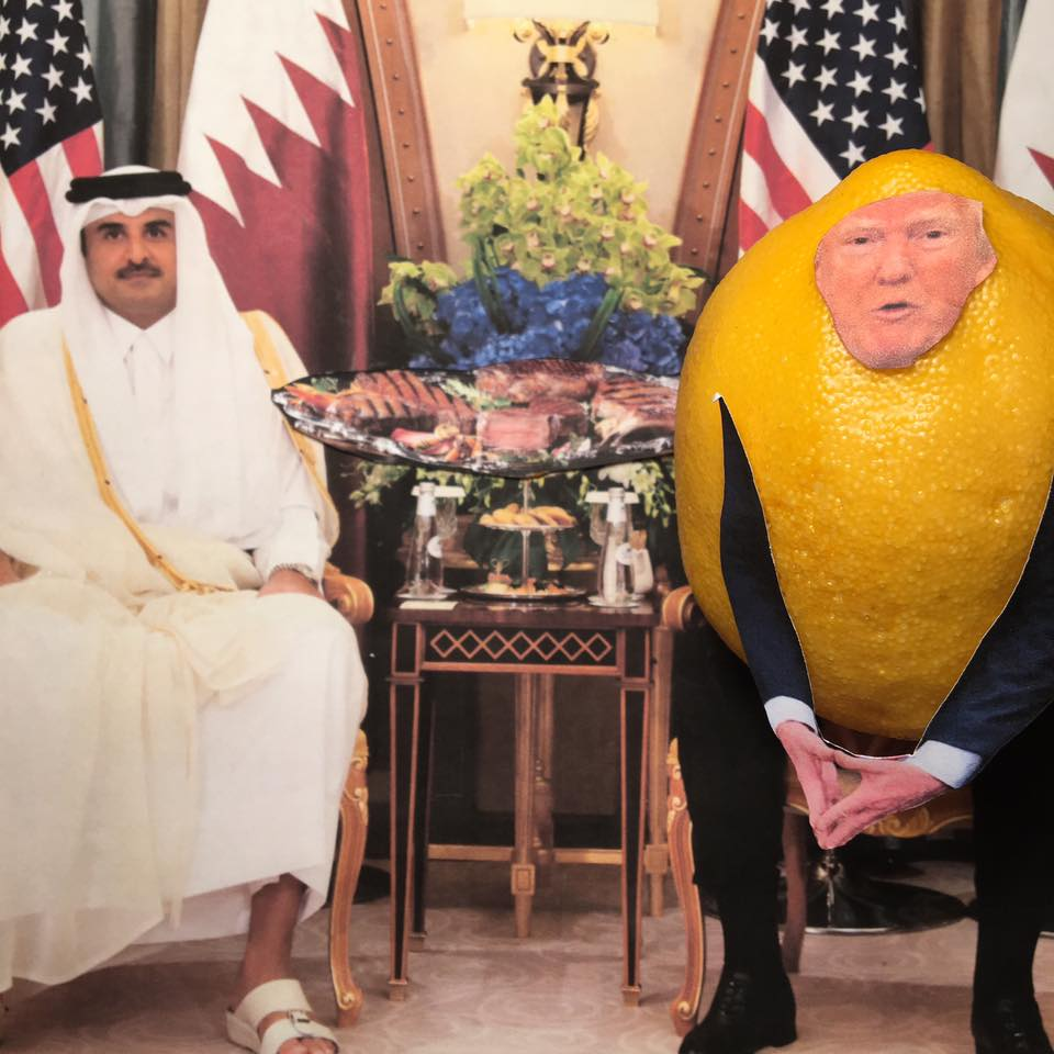 """5.21.17 Lemon Verbatim Meats the Emir of Qatar... """"Thank you very much everybody. We have some wonderful meetings going on over the last two days. We are friends, we've been friends now for a long time indirectly, haven't we? And our relationship is extremely good. We have some very serious discussions right now going on. And one of the things that we will discuss is the purchase of lots of beautiful military equipment because nobody makes it like the United States. And for us that means jobs, and it also frankly means great security back here which we want. So it's an honor to be with you, and thank you very much."""" #LemonLaw#DivestDonald"""