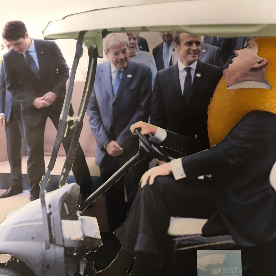 "5.28.17  Golf Cart Diplomacy...  ""I've never cared much for the EU. It was very hard to set up golf courses there. It took me 2 1/2 years to get a license in Ireland. But Belgium does have very good chocolate!""   #LemonLaw   #DivestDonald"