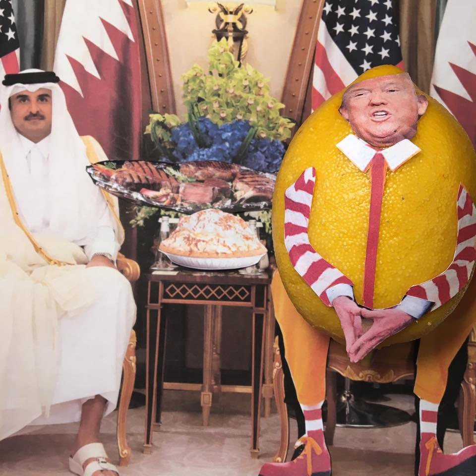 """6.6.17  Cutting Off Qatar, You Know, Despite Our Military Base… """"During my recent trip to the Middle East I stated that there can no longer be funding of Radical Ideology. Leaders pointed to Qatar - look! So good to see the Saudi Arabia visit with the King and 50 countries already paying off. They said they would take a hard line on funding extremism, and all reference was pointing to Qatar. Perhaps this will be the beginning of the end to the horror of terrorism! This will absolutely not compromise our use of our military base in Qatar with 10,000 troops–I have met the emir of Qatar and he knows that I am a twit! He will ignore what I say."""" #LemonLaw"""
