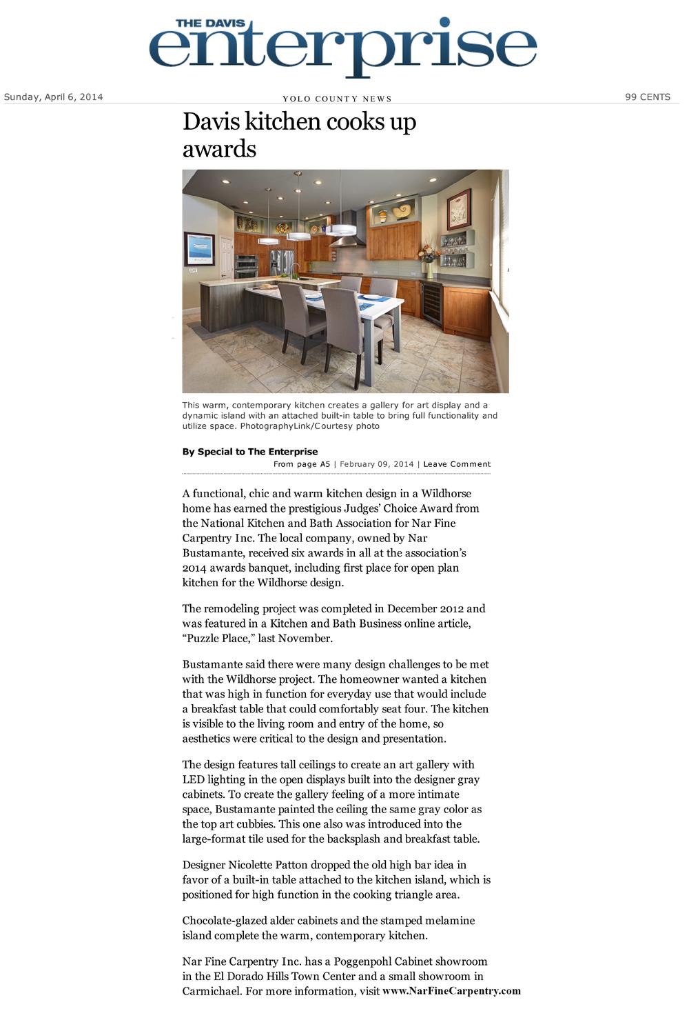 "Davis Enterprise Article: ""Davis Kitchen Cooks Up Awards"", 2/9/2014"