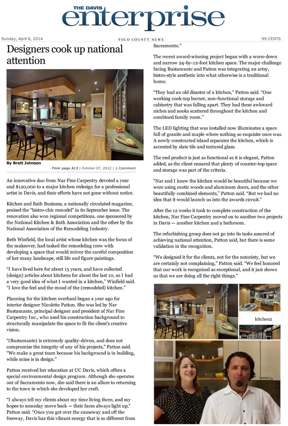 "Davis Enterprise Article: ""Designers Cook Up National Attention"", 10/7/2012"