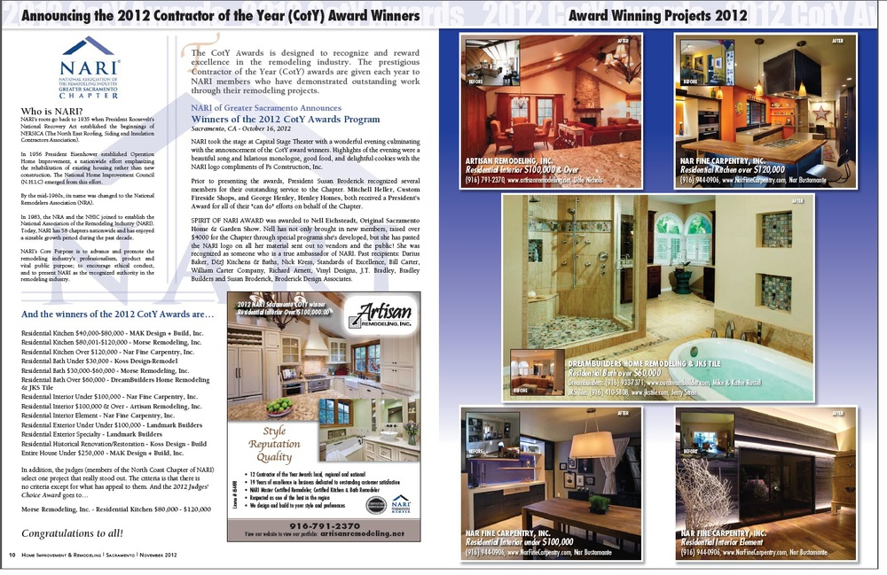 """Home Improvement & Remodeling Magazine Article: """"2012 CotY Award Winners"""", 11/2012"""