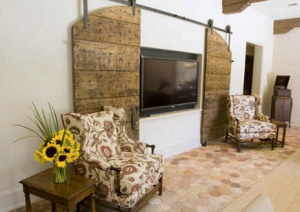 Arched Barn doors to cover TV and also look like Doorway when Closed