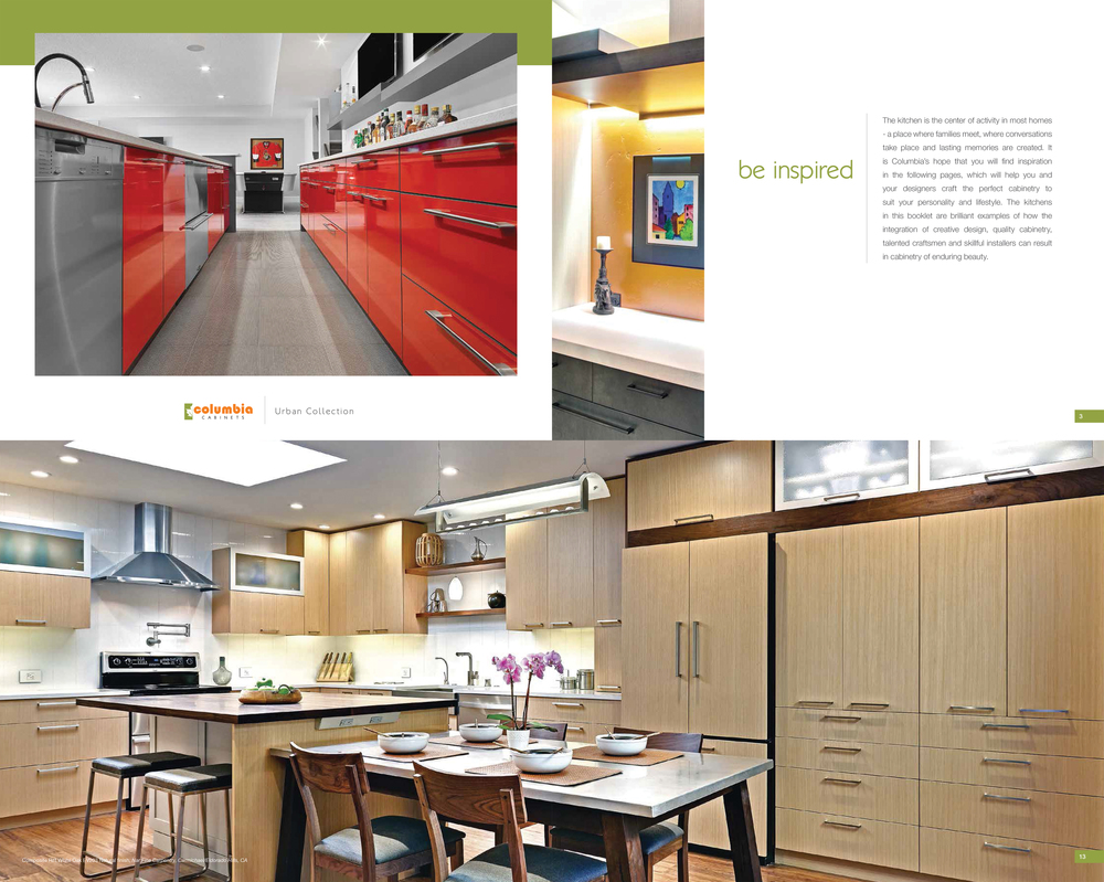 Columbia Cabinets- Urban Collection Brochure 2014, 2 NFC Projects Featured