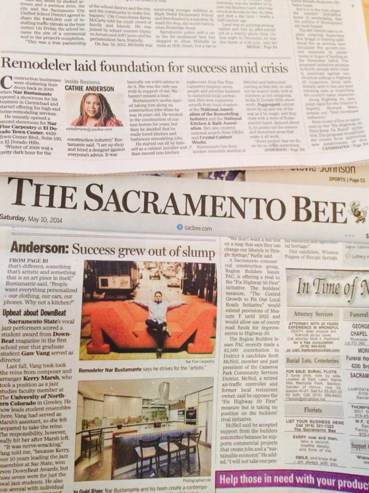 """Sacramento Bee Article: """"Cathie Anderson: Remodeler laid foundation for success amid housing crisis"""", 5/2014"""