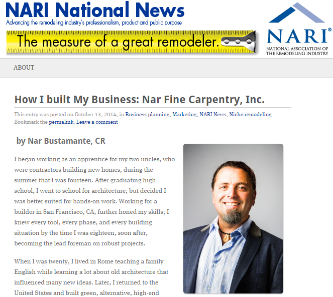 """NARI National News Blog Article: """"How I Built My Business: Nar Fine Carpentry, Inc."""" by Nar Bustamante, CR"""