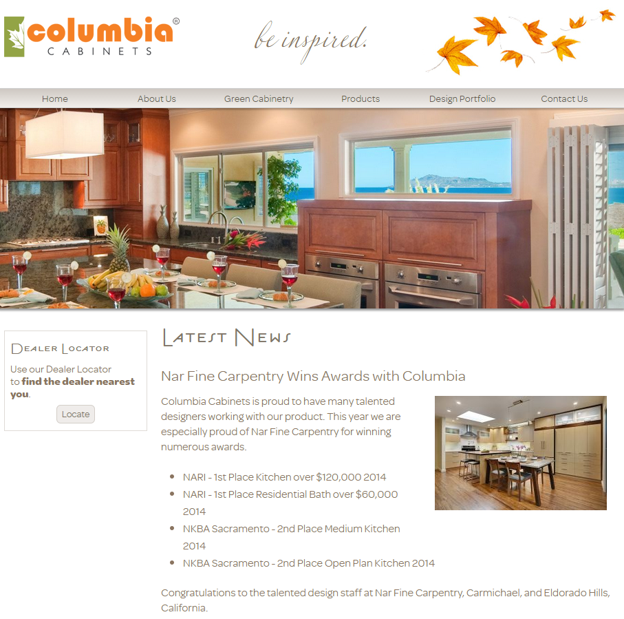 """""""Nar Fine Carpentry Wins Awards with Columbia.""""2/2015"""