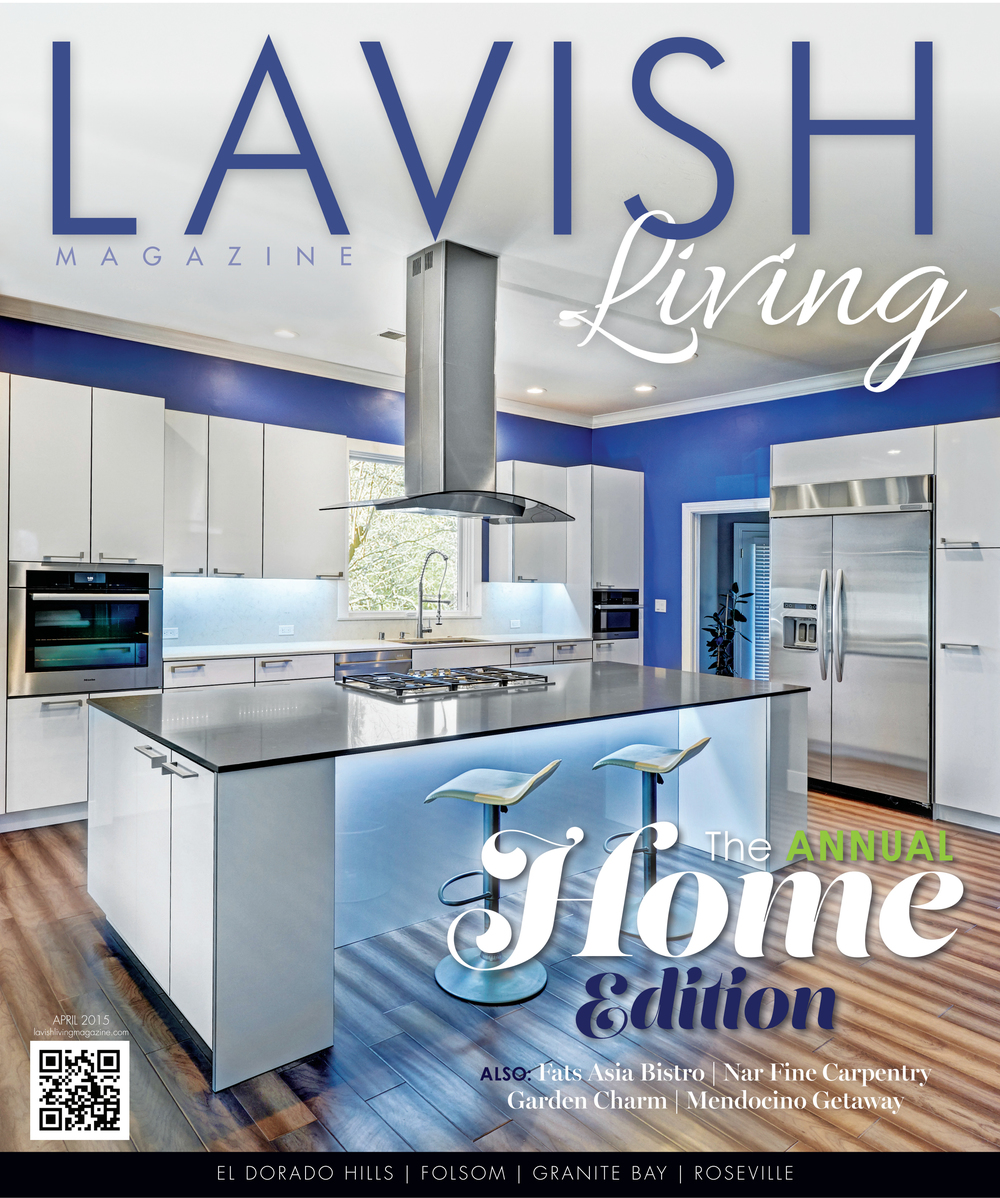 """Lavish Living Magazine Cover & Article: """"Lavish on Locals"""" by Kelsey Wehsels, 4/2015 pg. 15-16"""