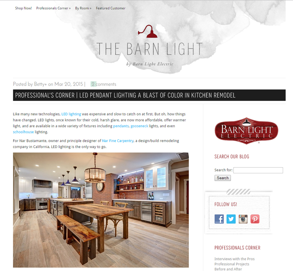 """Barn Light Electric:""""LED Pendant Lighting a Blast of Color in Kitchen Remodel"""" 3/2015"""