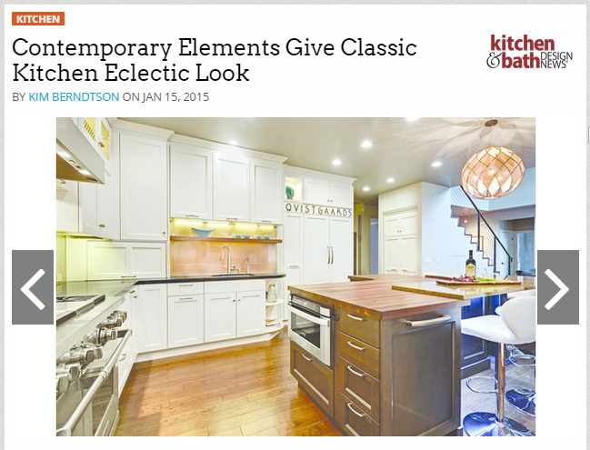 """""""Contemporary Elements Give Classic Kitchen Eclectic Look"""" Article1/2015"""