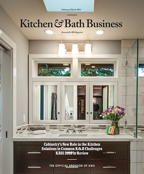 """Kitchen & Bath Business Magazine, Industry Viewpoint, """"Trials & Tribulations: Solutions to your biggest kitchen and bath challenges""""   pg. 20 Feb./Mar. 2016"""