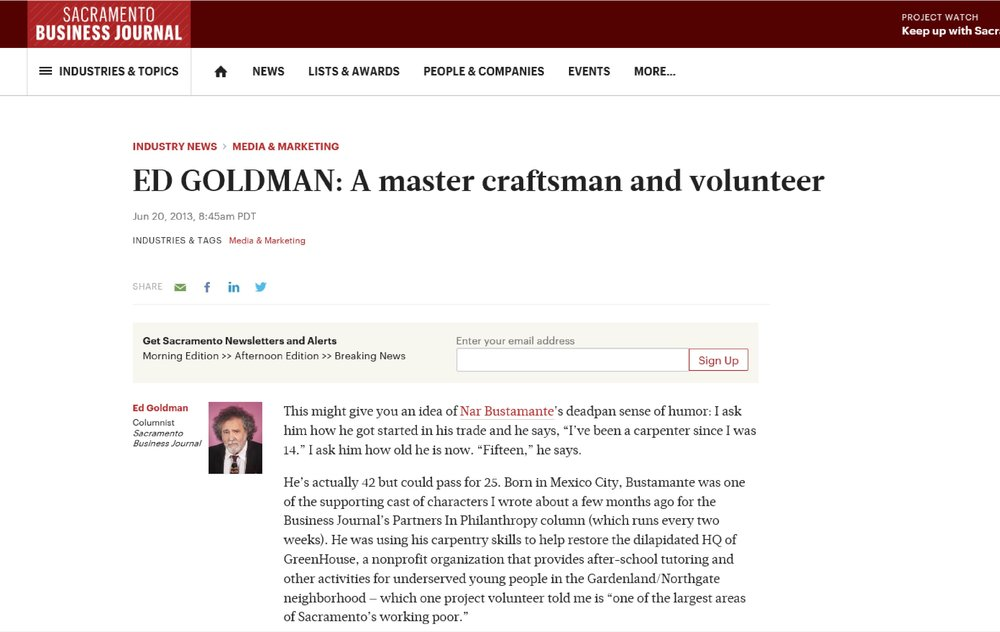 "Sacramento Business Journal Article: ""Ed Goldman- A Master Craftsman and Volunteer"", 6/2013"