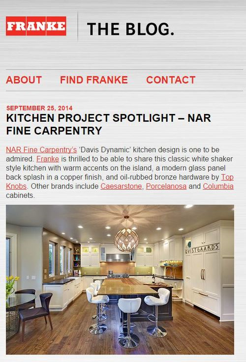 "Franke Blog ""Kitchen Project Spotlight - Nar Fine Carpentry"" 9/2014"