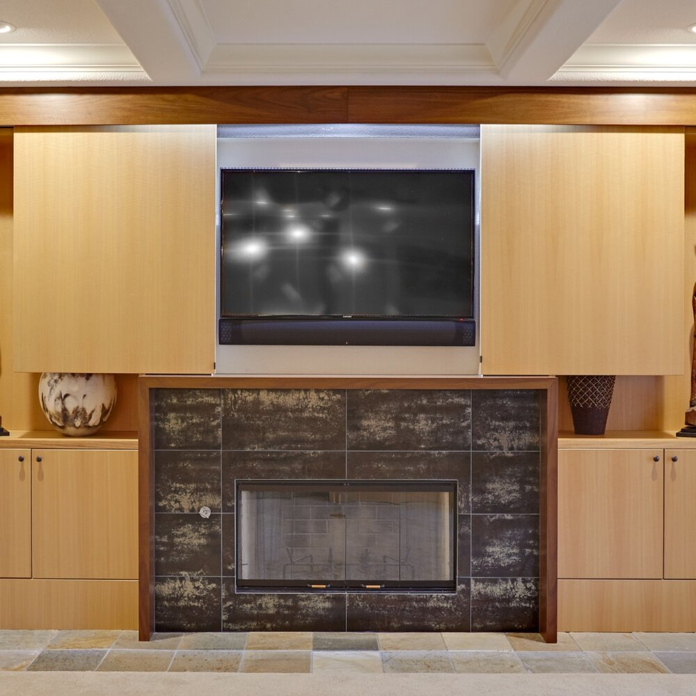 Clever Curves Fireplace . Nar Fine Carpentry . Sacramento . El Dorado Hills