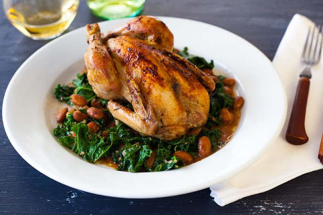Cornish hens with beans and kale