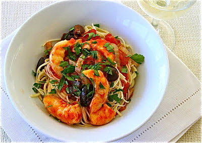Shrimp with angel hair