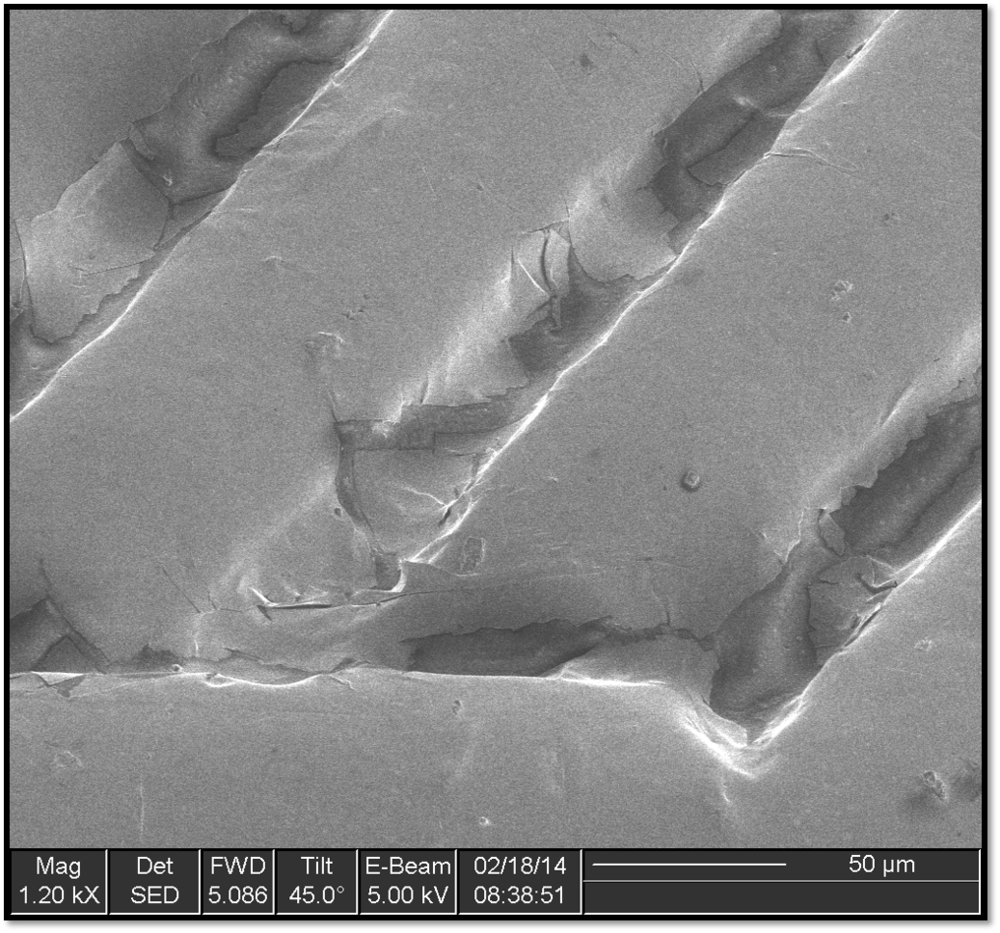 Scanning Electron Micrograph of an extremely small section of the fabricated piece.