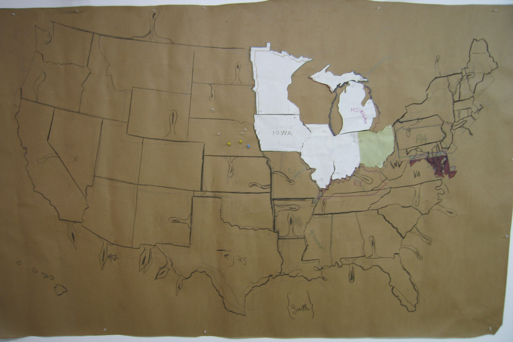 "This is the original hand drawn map, measuring 9ft x 7ft, which I used to make all the Midwestern & East Coast states in the ""Made In America"" final cast iron art piece."
