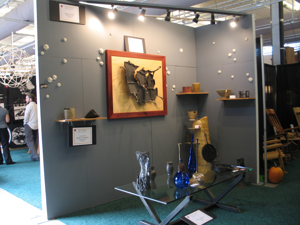 Here's our corner booth at the Fine Furnishings show. It was a unique collaboration with local artists I knew; Dan Dricken, Kelly Ludeking and Vaishali Weigh.