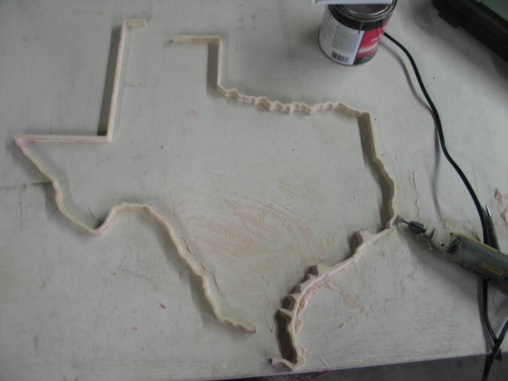 Texas was too big to cut in one session. So I had to do some careful planning to get the full state to line up so that it looked like one continuous outline.