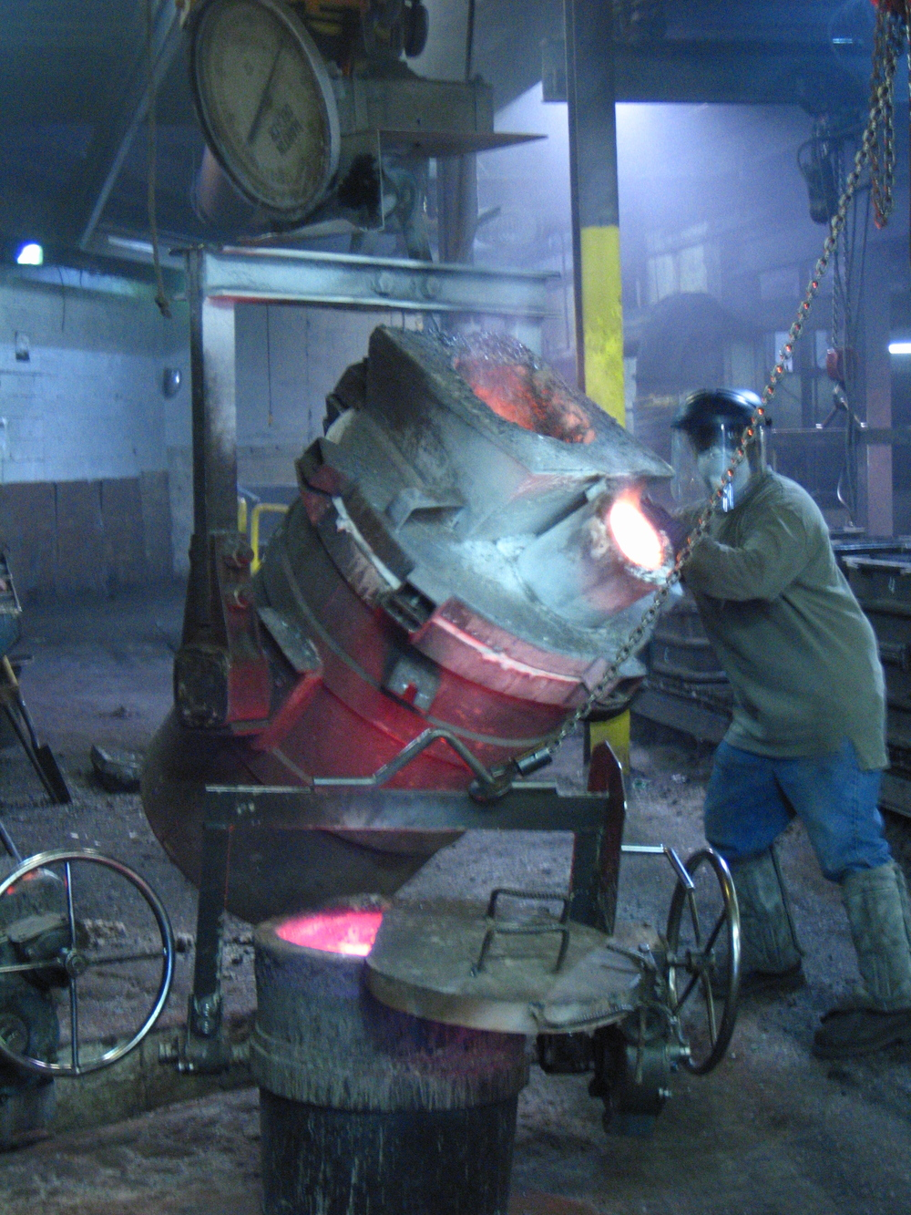 The ladle at Smith Foundry holds nearly a ton of molten metal.