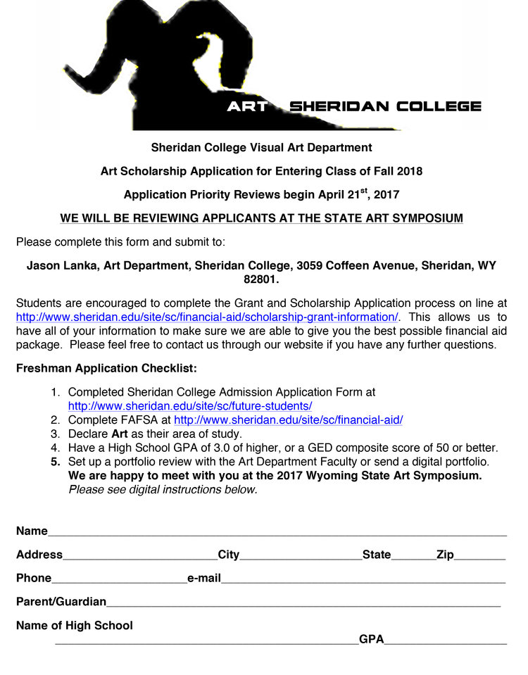 Scholarship Application Form  Sheridan College Art Department