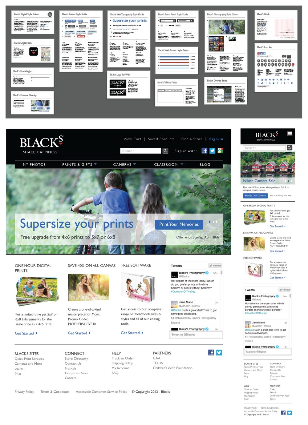 Digital style guide, website mock-up