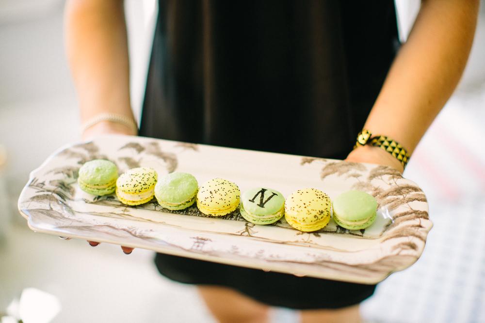 Miam Miam Macaronerie's Lemon Poppy and Pistachio French macarons.