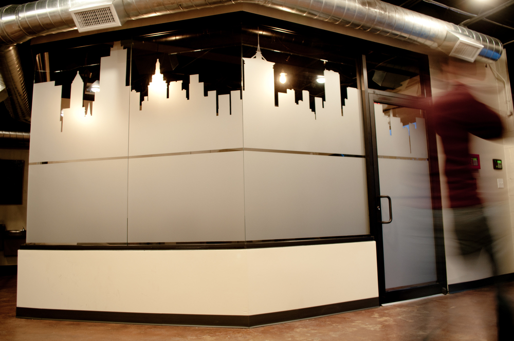EPICENTRE COWORKING // ENVIRONMENTAL GRAPHICS Conference Room Privacy ETCHED GLASS GRAPHICS Outdoor Identity Signage WAYFINDING SIGNAGE
