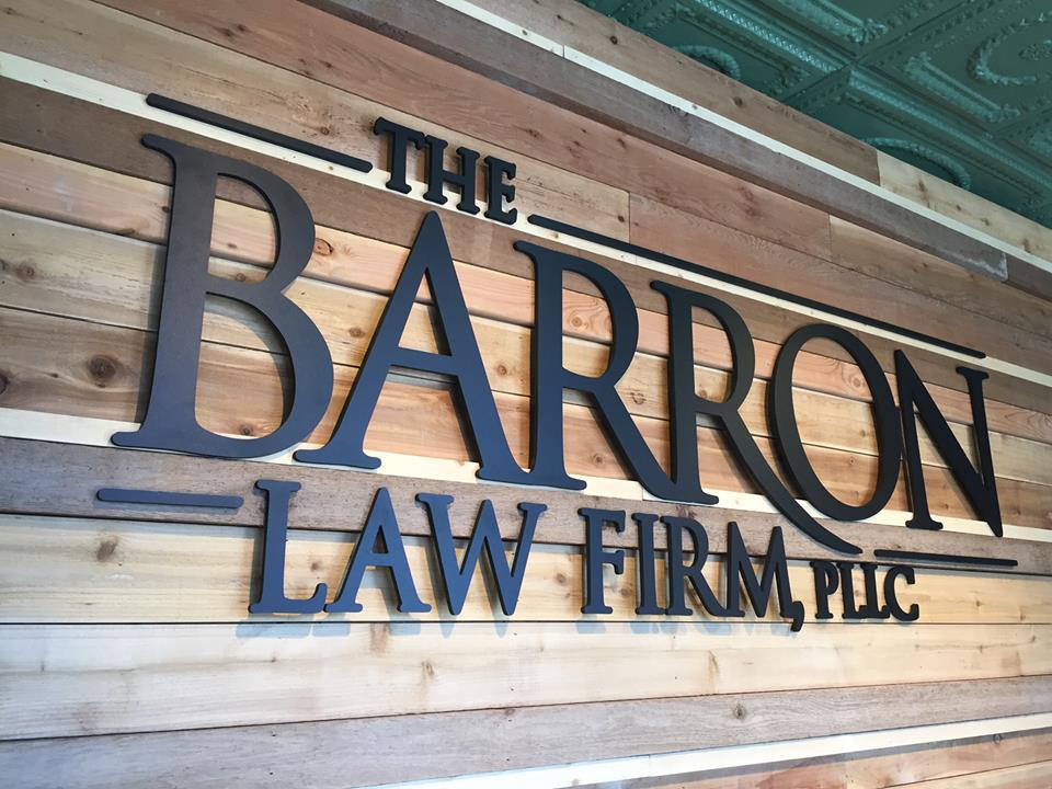 THE BARRON LAW FIRM //  LOBBY SIGNAGE   DIMENSIONAL SIGNAGE INDOOR SIGNAGE WALL SIGNAGE IDENTITY SIGNAGE