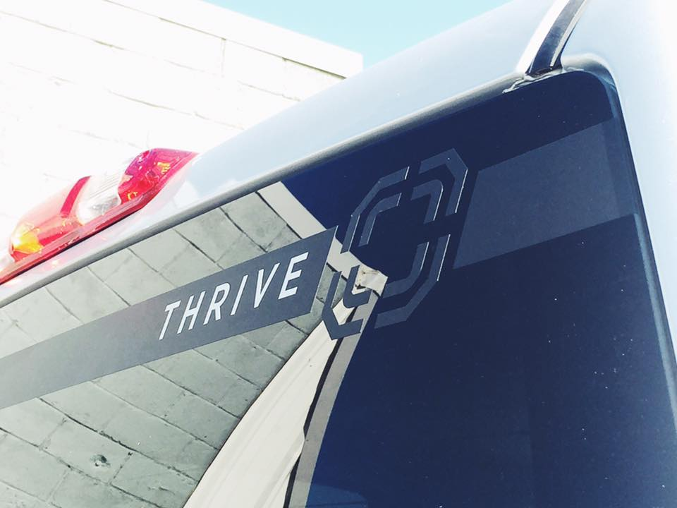 LEVEL THRIVE BLACK LABEL // VEHICLE GRAPHICS   MATTE ON GLOSS WINDOW GRAPHICS VEHICLE GRAPHICS