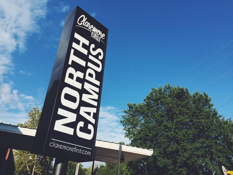 CLAREMORE FIRST BAPTIST // CAMPUS PYLON SIGN   VERTICAL SIGNAGE NON-LIGHTED SINGLE POLE SINGLE CABINET