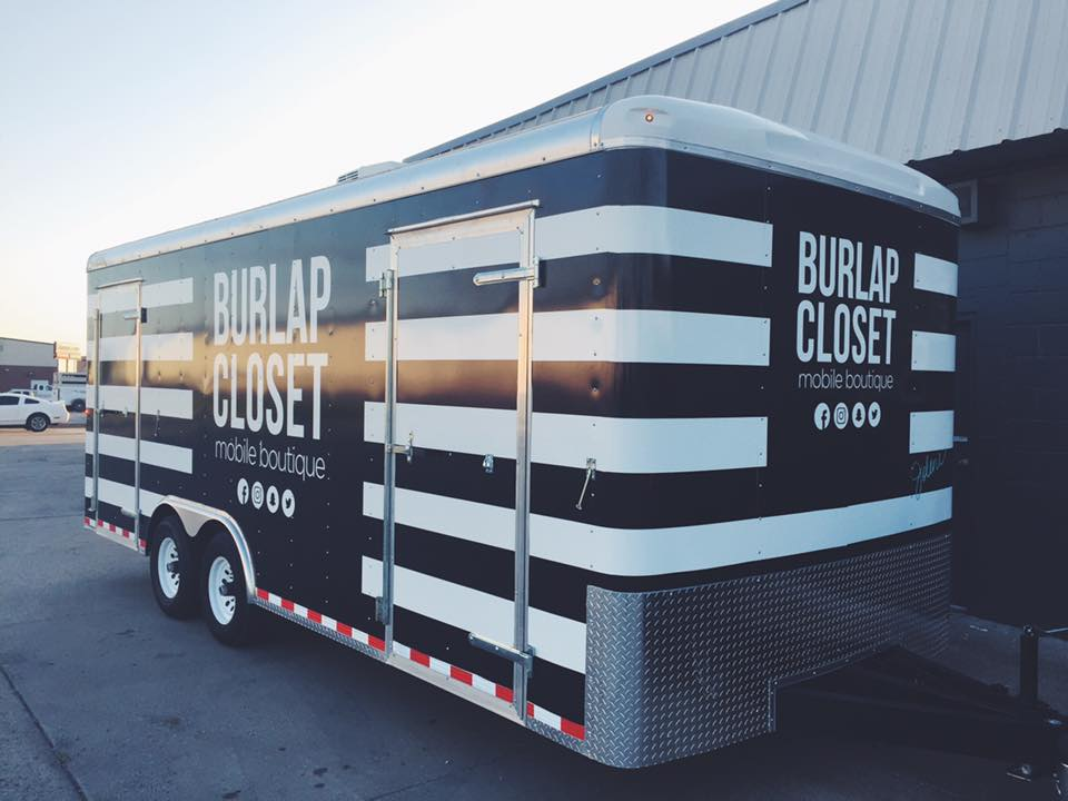 THE BURLAP CLOSET // MOBILE BOUTIQUE TRAILER WR  AP   IDENTITY GRAPHICS TRAILER GRAPHICS PROMOTIONAL GRAPHICS CARGO TRAILER WRAP