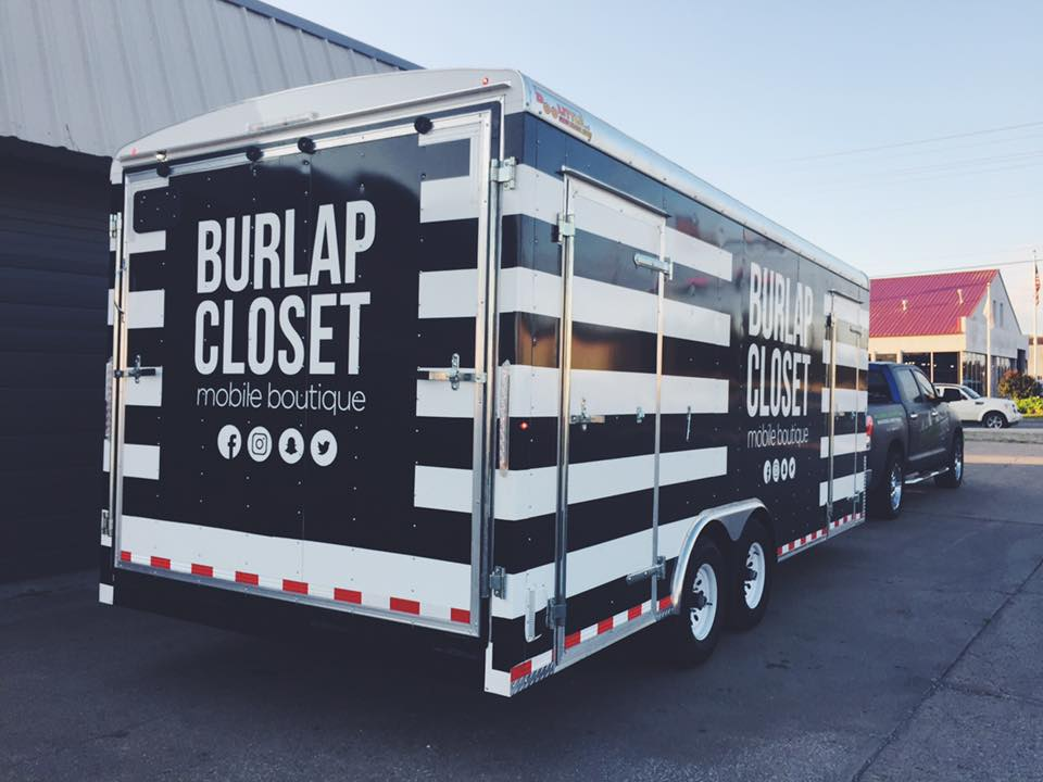 THE BURLAP CLOSET // MOBILE BOUTIQUE TRAILER WRAP IDENTITY GRAPHICS TRAILER GRAPHICS PROMOTIONAL GRAPHICS CARGO TRAILER WRAP